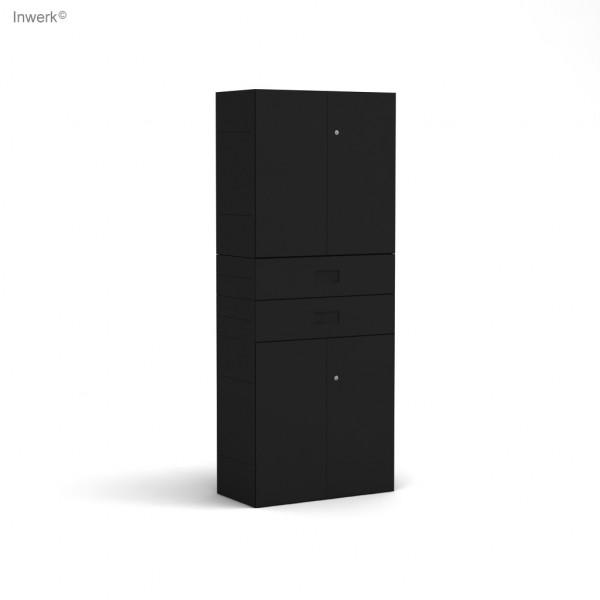 Masterbox® Schrank mit 4 Türen und Schubladen als Mittelfach