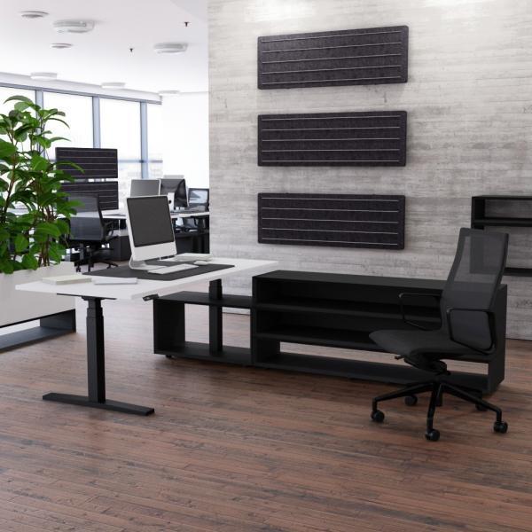 Schreibtisch höhenverstellbar Imperio® Lift Plus und 1600mm Sideboard Regal