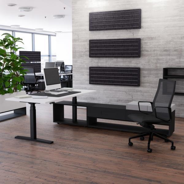 Schreibtisch höhenverstellbar Imperio® Lift Plus und 1600mm Sideboard mit Doppel-Schubfach