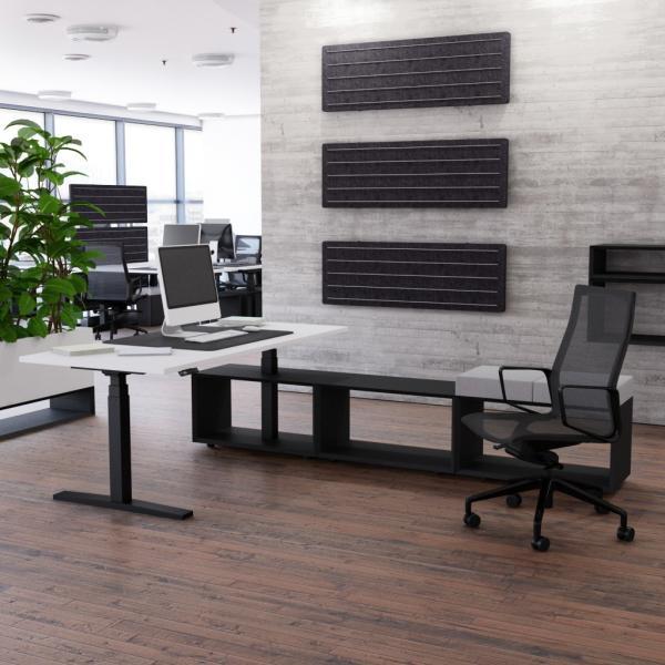Schreibtisch höhenverstellbar Imperio® Lift Plus mit 1600mm Sideboard offen